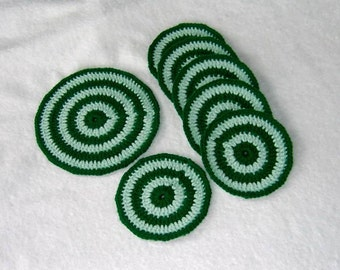 Round Acrylic Crocheted Coasters, Set of 1 plus 6, Circles