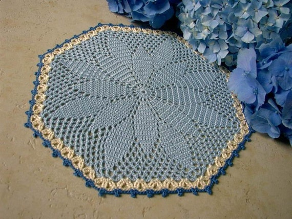 Blue Doily for Summer - Thread Crochet, 10.5 in.
