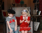 Retro  1960's style  Red Layla dress... with bib and ruffle-children clothing valentine
