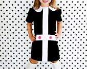 Mod 1960's style Retro Lauren.. black and white dress-children clothing-girls
