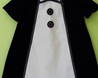 Retro1960's Style  black and white  Heather dress-children clothing-girls