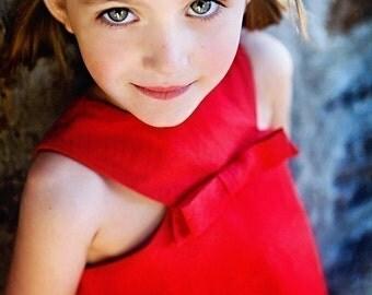 Retro Style Red Jewel Neckline dress, Valentine-children clothing-valentine