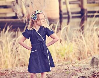 SALE!!! 1970s Style Retro  Wrap dress-children clothing