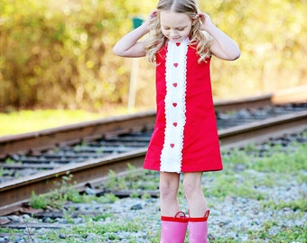 Retro Ribbin and lace Red heart dress-children clothing-girls-valentine