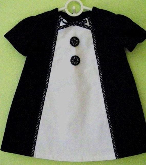 Retro1960's Style  black and white  Heather dress-children clothing-girls