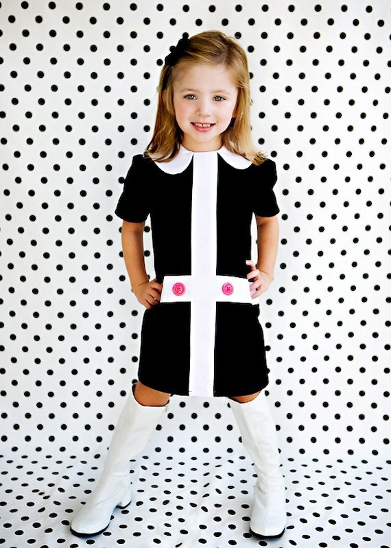 Mod 1960's style Retro Lauren.. black and white dress-children clothing-girls