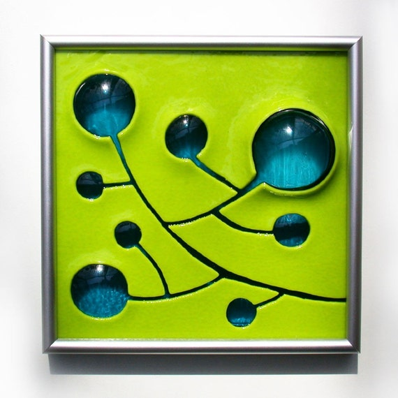 Starfire Studios\/Decor-M - Hand Carved and Fused Glass Art Panel - Berries