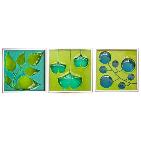 CUSTOM - Three tile group Leaves, Ginkgo, and Berries