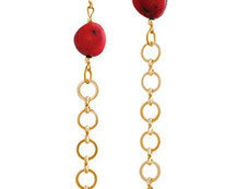 Coral and Gold Chain Earrings