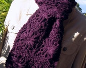 ALPACA Floral Scarf, Luxurious, Handcrocheted, Granny Squares, Afghan Style, PURPLE & IVORY