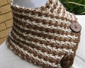 BABY ALPACA SCARFLETTE, Neckwarmer, Handknitted, Unisex, Cinnamon, Light Cinnamon, Very Smart, Coconut Buttons