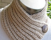 BABY ALPACA SCARFLETTE, Handknitted, Light Cinnamon, Ribbed, Unisex, Very Smart, Coconut Buttons
