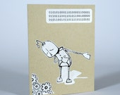 Robot Binary Thank You Card - Hand Screen Printed Pearl White and Black Ink