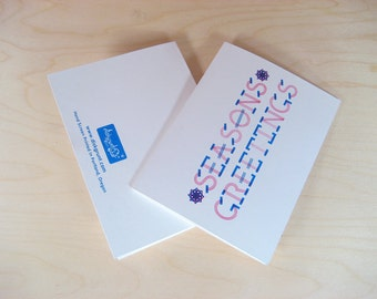 Seasons Greetings - 10 Pack - 2 Color Hand Screen Printed Card