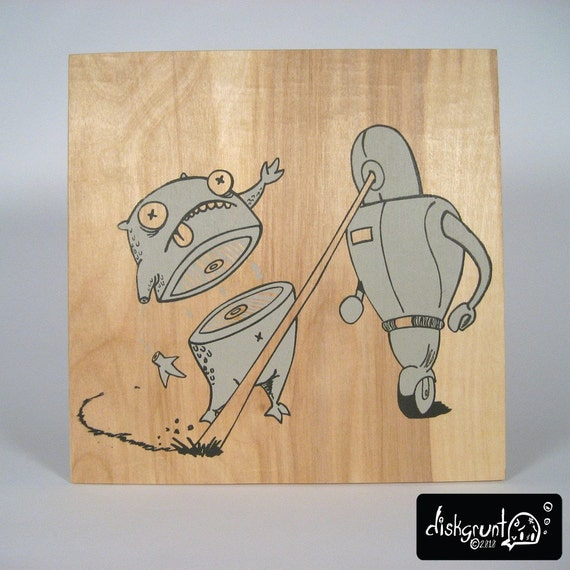 Monsters V Robots Limited Hand Screen Printed on Wood Complete 4 Panel Set