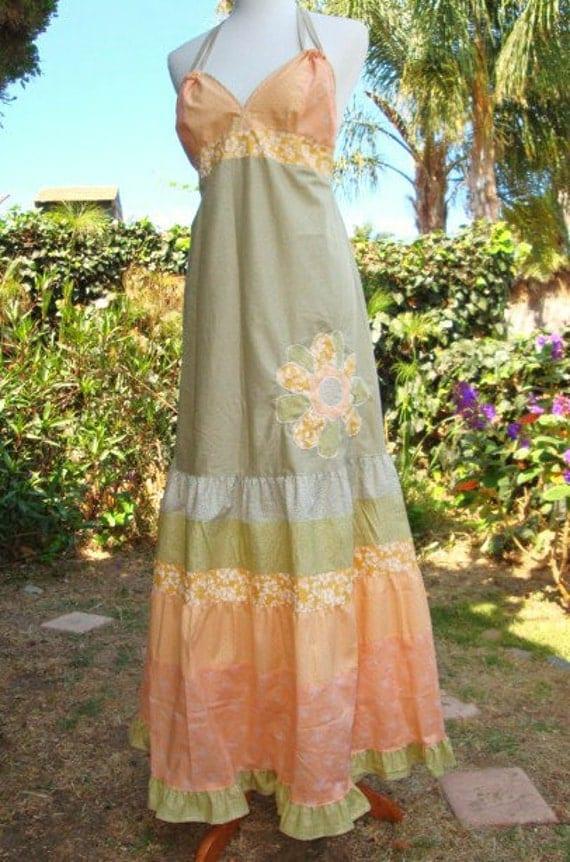 Designer Applique DRESS Sunkissed Cotton Hippie Patchwork VINTAGE Pastel Peach Green Earthy Flower Floral Skirt elyse oRiGiNaLs