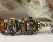 Handmade Lampwork Pendant and earrings, large lampwork focal, earthy colors