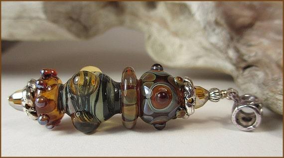 Handmade Lampwork Pendant and earrings, large lampwork focal, earthy colors