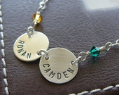 Personalized Necklace - Custom Hand Stamped Sterling Silver  Charm Jewelry - Connect Duo (Name) with Birthstone or Pearl