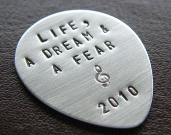 Custom Guitar Pick- Personalized Sterling Silver Hand Stamped Pick - Perfect Gift for Grads and Dads