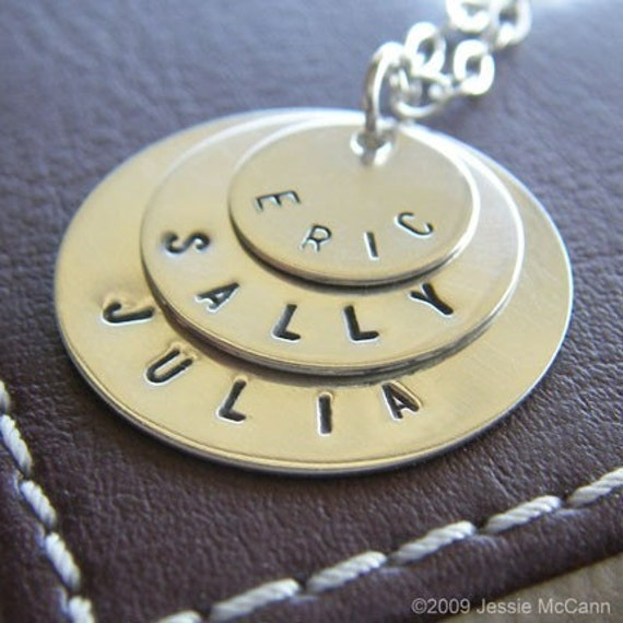 Stack Trio Multiple Names Personalized Hand-stamp Sterling Silver Tag Necklace