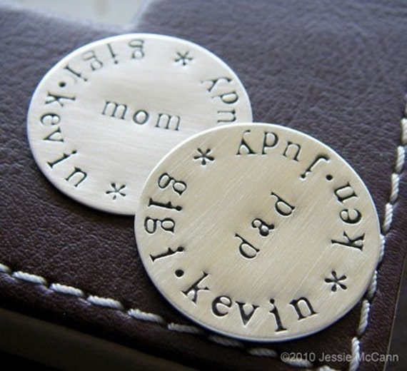 Custom Golf Ball Marker Set for Him and Her (TWO MARKERS) - Personalized Hand Stamped Keepsake Tokens - Sterling Silver Golf Markers