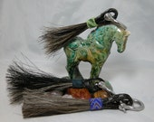 Super hearty horse hair keyring with lime green beads