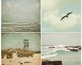 Beach Scapes Nautical Photography Collection, aqua blue mini wall art set, baby nursery prints, home decor - four 4x4 photos