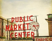 Pikes Market Seattle Photography, historical clock sign, red and beige