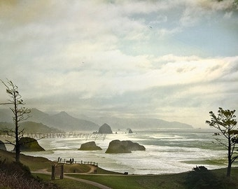 Cannon Beach Haystack Rock Photography, Oregon beach wall art, nautical home decor, rocky ocean - 8x12