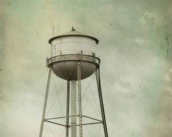 Water Tower Photography, vintage, historic landscape wall art, aqua, grey, home decor, print