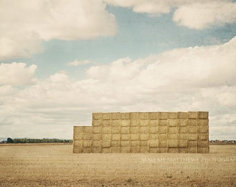 Hay Bales Farm Fields Photography, farm country photo, summer print, wall art, home decor, blue & gold - 8x12