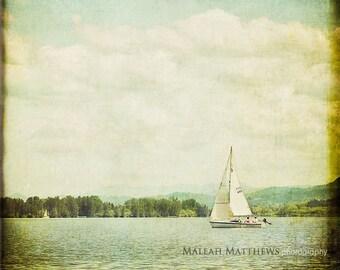 Sailboat Nautical Photography, lake sailing photo, vintage wall art, beach home decor, print - 8x8
