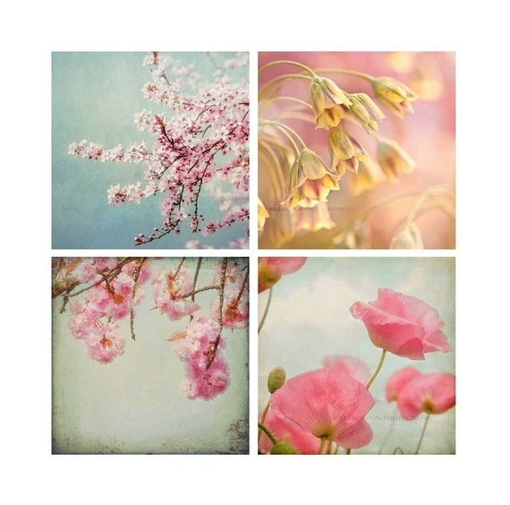 Flower Garden Mini Photography Collection, pink & blue baby nursery prints, vintage chic wall art, floral - Set Of Four Photos