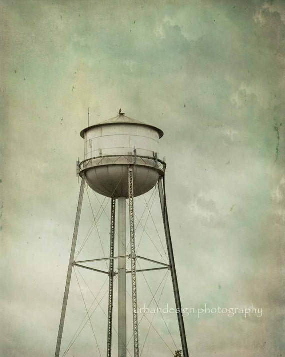Water Tower Photography, vintage, historic landscape wall art, aqua, grey, home decor, print