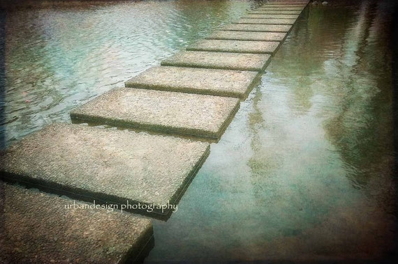 Stepping Stones In Water Photography - ethereal  gold, green, aqua, brown landscape photo, mystical, dreamy print, wall art