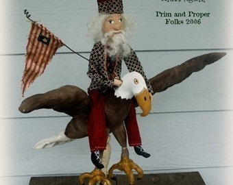 Primitive Folk Art American Bald Eagle Mailed pattern