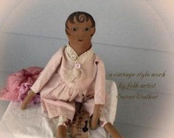 Primitive Folk Art Simple Old Dollie - Mailed Pattern