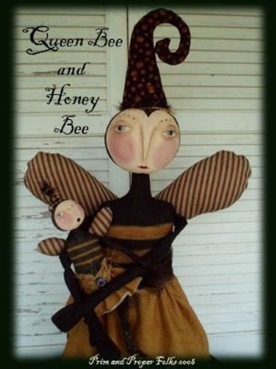 Primitive Folk Art Queen and Honey Bee Doll Mailed Pattern