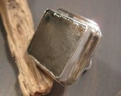 Big Cubist glow ring - pyrite stone and sterling silver