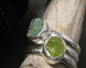Moss and tree green stacking rings - Raw Peridot Malachite and sterling silver