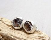 Cognac brown Zircon earrings - Zircon specimen and sterling silver studs