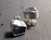 Violet Iolite studs - Raw Iolite and sterling silver earrings