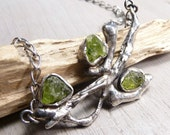 Earthy twig necklace - Raw peridot and sterling silver