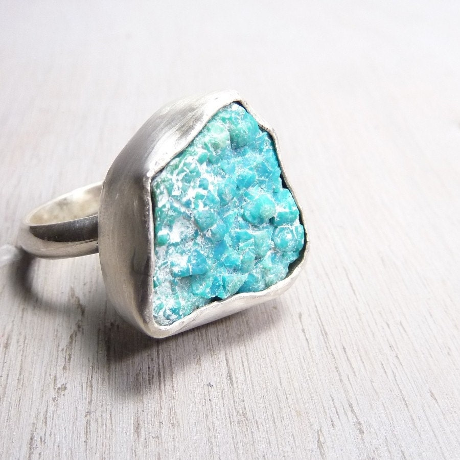 Metal Sign Gooseneck Light Granite Silver: Teal Bubbly Ring Raw Chrysocolla Stone And Sterling Silver