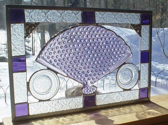 stained glass panel Fenton purple hobnail FAN window
