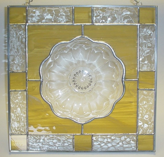 stained glass panel amber Flower plate