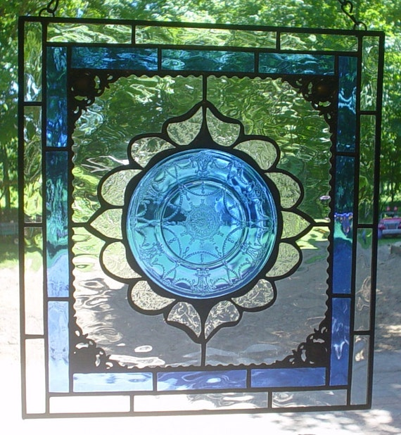 stained glass plate panel Cobalt Teardrops