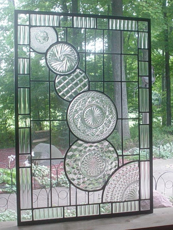 stained glass panel window Crystal Cascade ...FREE SHIPPING