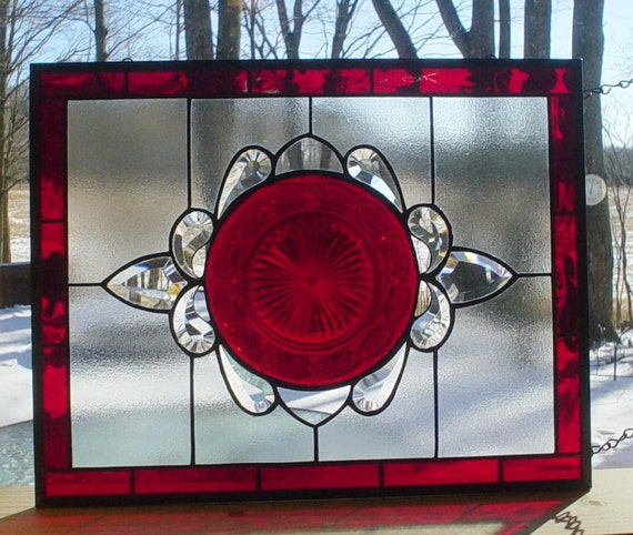 Stained Glass panel vintage Ruby plate with bevels